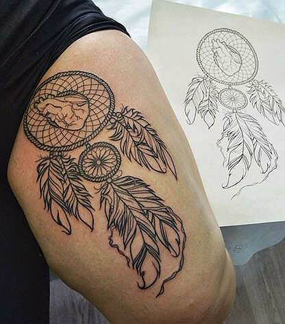 Tattoo on leg in the form of a dream catcher